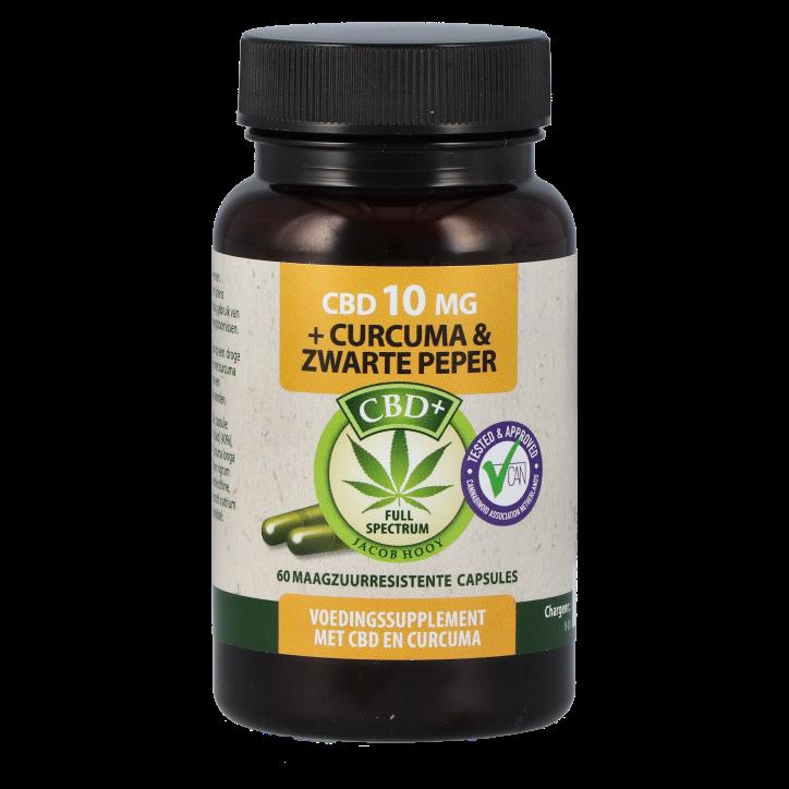 Jacob Hooy CBD capsules 10 mg + Curcuma & Zwarte Peper (60 capsules)