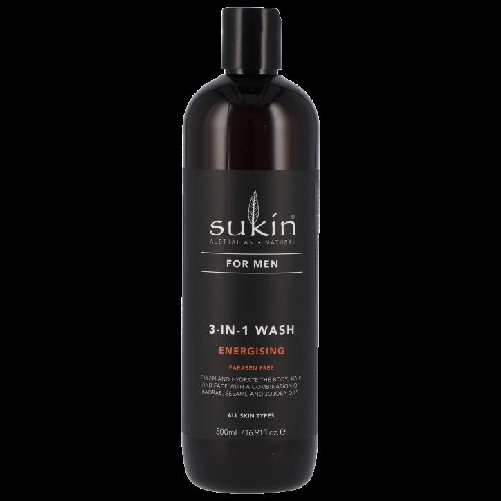 Sukin For Men Nettoyant 3-en -1 énergisant (500 ml)