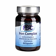FSC Iron Complex 14mg with Vitamin C, B12 & Folic Acid 30 Vegi capsules
