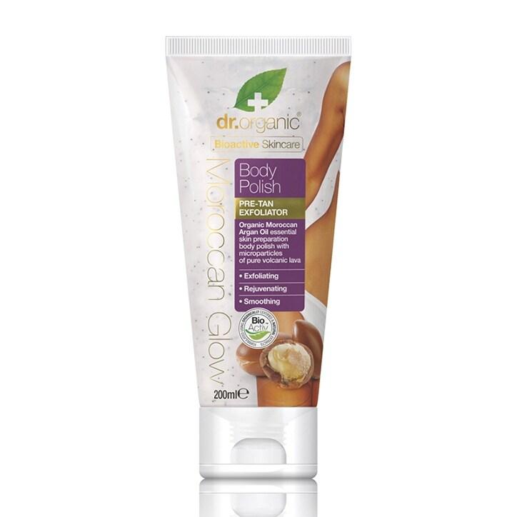 Dr Organic Moroccan Glow Body Polish Pre-Tan Exfoliator 200ml