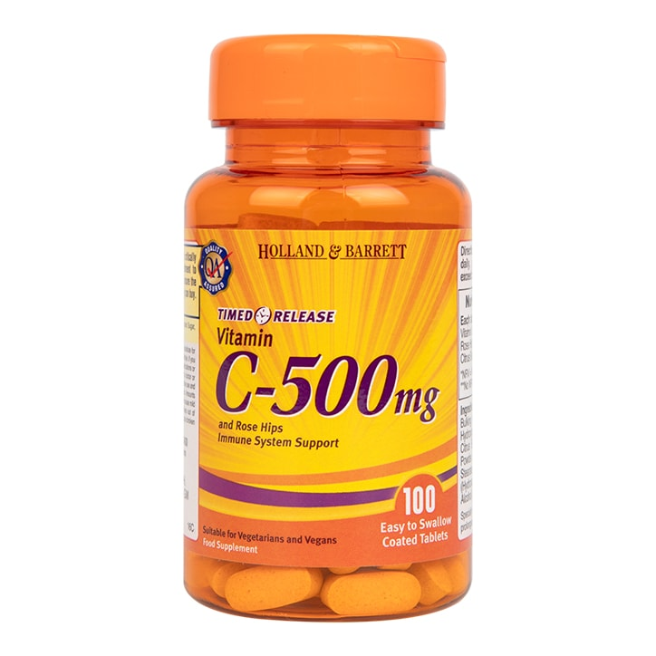 Holland & Barrett Vitamin C Timed Release with Bioflavonoids 100 Caplets 500mg