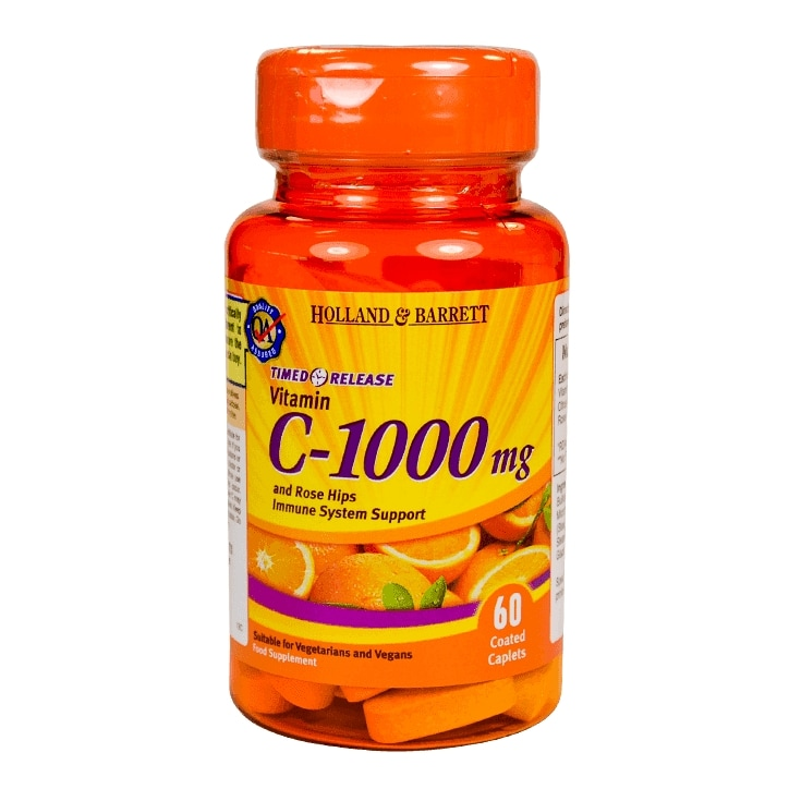 Holland & Barrett Timed Release Vitamin C with Rose Hips 60 Caplets 1000mg