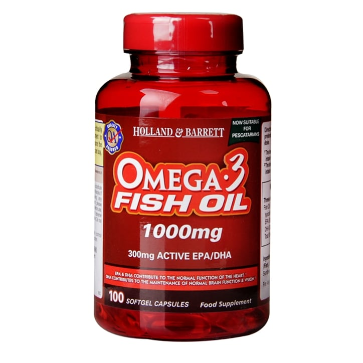 Holland & Barrett Omega 3 Fish Oil 1000mg 100 Softgel Capsules