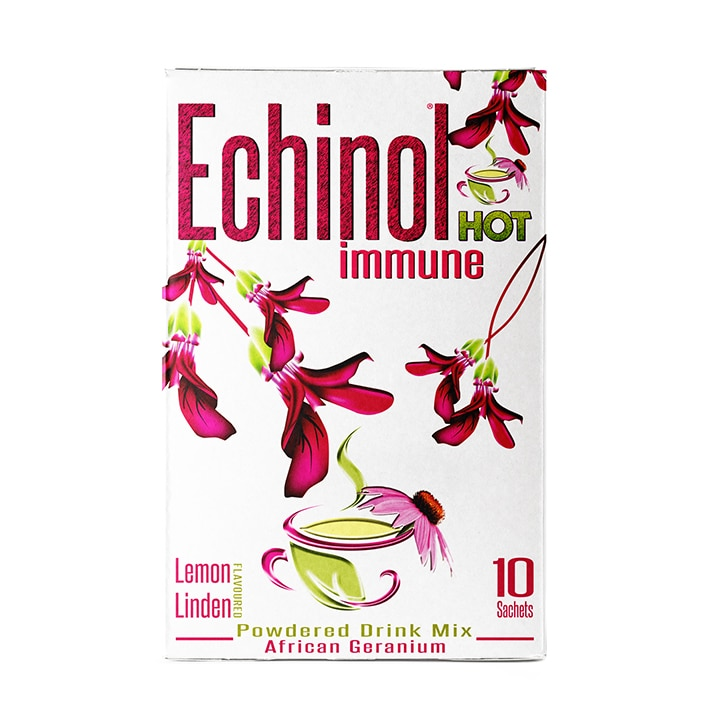 Echinol Hot Immune Powdered Drink Mix African Geranium Lemon Linden Flavoured 10 Sachets