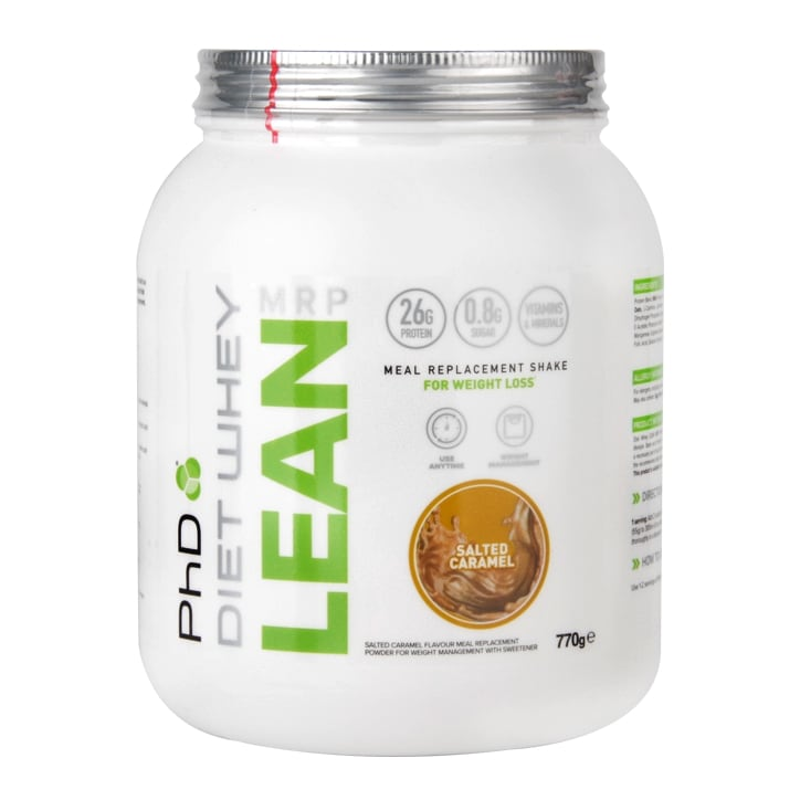 PhD Nutrition Diet Whey Lean Meal Replacement Shake Salted Caramel Flavour 770g