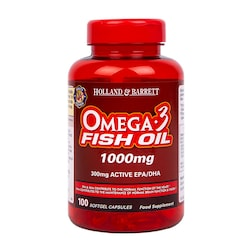 Holland & Barrett Omega 3 Fish Oil Concentrate 100 Capsules 1000mg