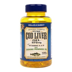 Holland & Barrett Cod Liver Oil with Evening Primrose 60 Capsules 500mg