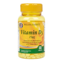 Holland & Barrett Vitamin D3 100 Tablets 25ug