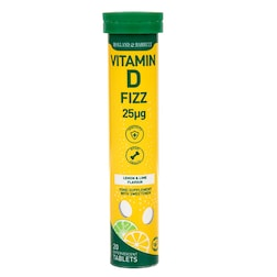 Holland & Barrett Vitamin D3 25ug Lemon and Lime Flavour Effervescent 20 Tablets