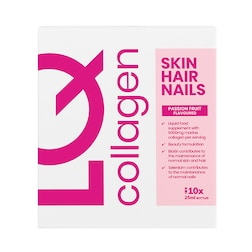 LQ Skin Hair Nails Collagen Passion Fruit Flavoured Liquid Supplement 10x25ml Shots