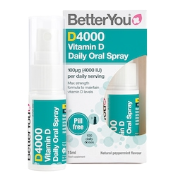 BetterYou D4000 Vitamin D Daily Oral Spray Peppermint Flavour 15ml