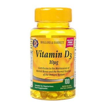 Holland & Barrett Vegetarian Vitamin D3 Capsules 400 I U