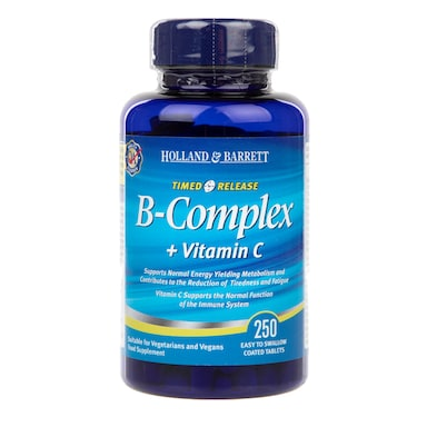 Holland & Barrett Vitamin B Complex plus Vitamin C Timed Release 250 Caplets