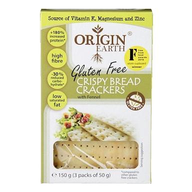 Origin Earth Gluten Free Crispy Bread Crackers with Fennel 150g