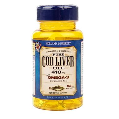Holland & Barrett Cod Liver Oil 100 Capsules 410mg
