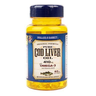 Holland & Barrett Cod Liver Oil 60 Capsules 410mg