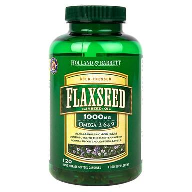Holland & Barrett Flaxseed Linseed Oil 120 Capsules 1000mg