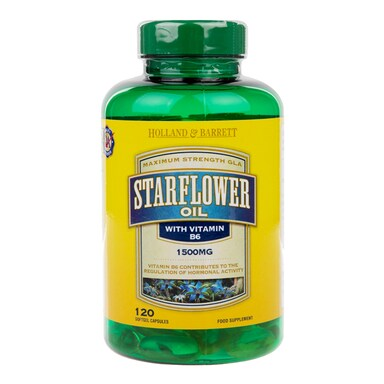 Holland & Barrett Starflower Oil 1500mg Plus Vitamin B6 120 Capsules
