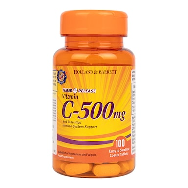 Holland & Barrett Vitamin C Timed Release with Rose Hips 100 Tablets 500mg