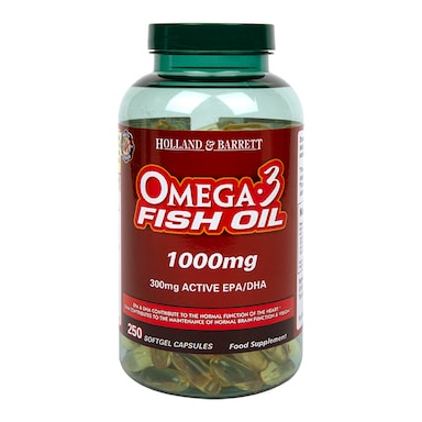 Holland & Barrett Omega 3 Fish Oil Concentrate 250 Capsules 1000mg