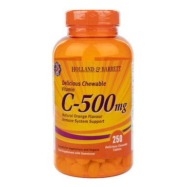 Holland & Barrett Chewable Vitamin C with Rose Hips 250 Tablets 500mg