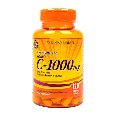 Holland & Barrett Timed Release Vitamin C with Rose Hips 120 Caplets 1000mg