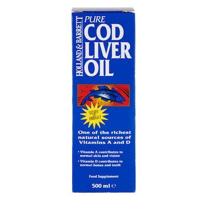 Holland & Barrett Cod Liver Oil Pure Liquid 500ml