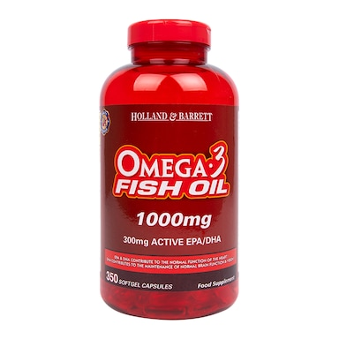 Holland & Barrett Omega 3 Fish Oil Concentrate 350 Capsules 1000mg