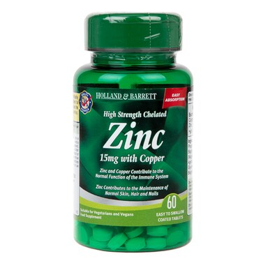Holland & Barrett High Strength Chelated Zinc with Copper 60 Tablets 15mg
