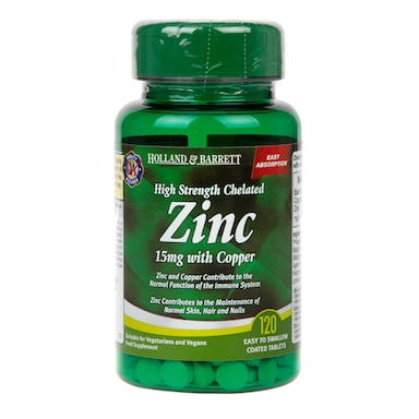 Holland & Barrett High Strength Chelated Zinc 15mg with Copper 120 Tablets
