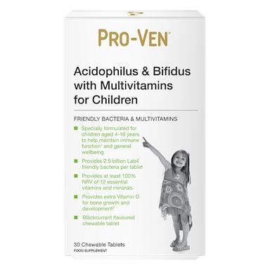 Pro-Ven Acidophilus & Bifidus with Multivitamins 30 Chewable Tablets for Children