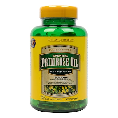 Holland & Barrett Natural Evening Primrose Oil 120 Capsules 1000mg plus Vitamin B6