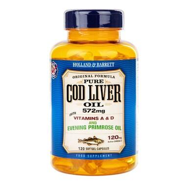 Holland & Barrett Cod Liver Oil with Evening Primrose 120 Capsules 500mg