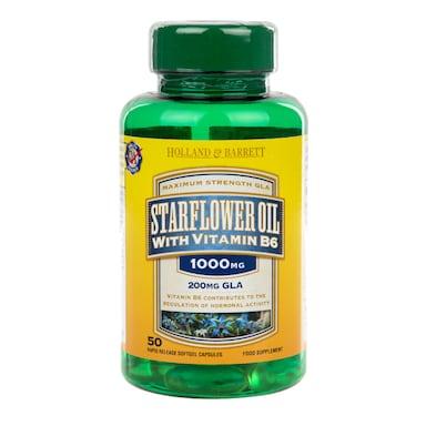 Holland & Barrett Starflower Oil 50 Capsules 1000mg with Vitamin B6