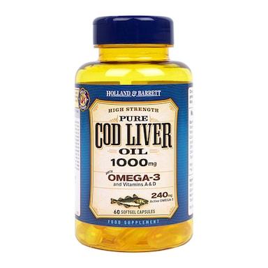 Holland & Barrett Cod Liver Oil 60 Capsules 1000mg