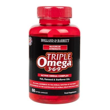 Holland & Barrett Maximum Strength Triple Omega 369 60 Capsules