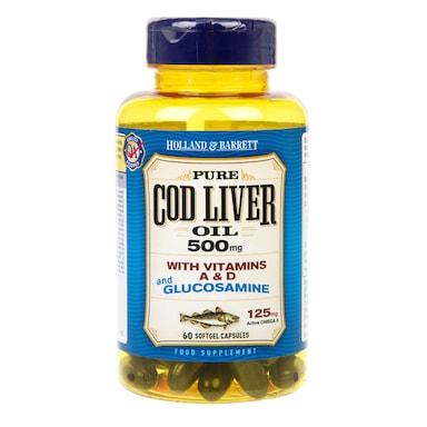 Holland & Barrett Cod Liver Oil and Glucosamine 60 Capsules 500mg