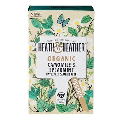Heath & Heather Organic Camomile & Spearmint 20 Tea Bags