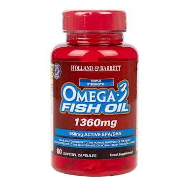 Holland & Barrett Omega 3 Triple Strength Fish Oil 60 Capsules 1360mg