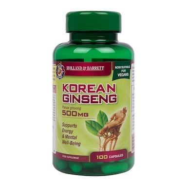 Holland & Barrett Korean Ginseng 500mg 100 Capsules