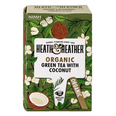 Heath & Heather Organic Green Tea with Coconut 20 Tea Bags