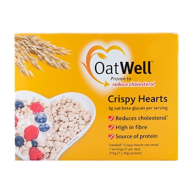 OatWell Crispy Hearts with Oat Beta-Glucan 7 Day Supply 7x30g