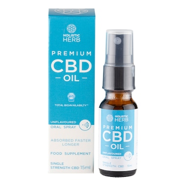 Holistic Herb Premium CBD Oral Spray Single Strength 15ml Unflavoured