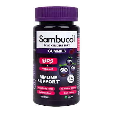 Sambucol For Kids 4-12 Years + Vitamin C Black Elderberry 30 Gummies