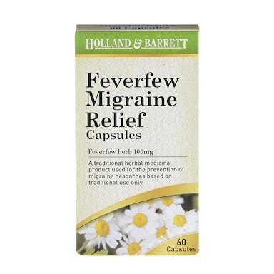 Holland & Barrett Feverfew Migraine Relief 60 Capsules 100mg