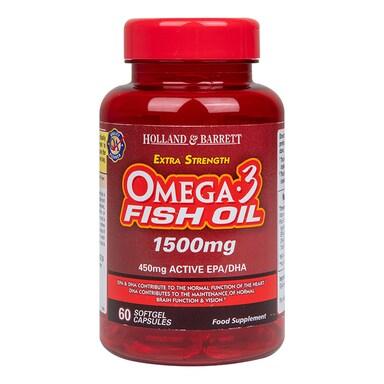 Holland & Barrett Extra Strength Omega 3 Fish Oil 60 Capsules 1500mg