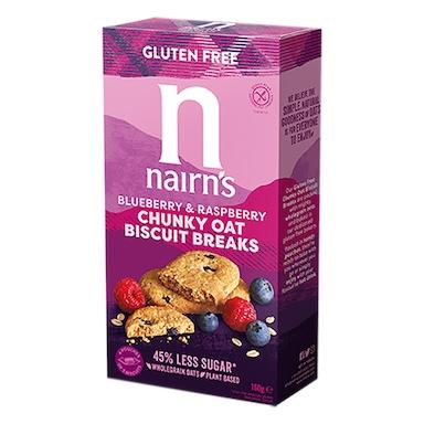 Nairn's Gluten Free Biscuit Breaks Chunky Blueberry & Raspberry 160g