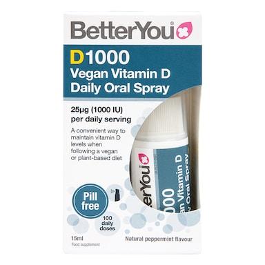 BetterYou Dlux Vegan Vitamin D Daily Oral Spray 1000IU 15ml