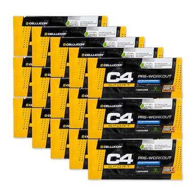 Cellucor C4 Pre Workout Sachet Blue Raspberry 15 x 9g