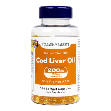 Holland & Barrett Cod Liver Oil 200mg 360 Capsules